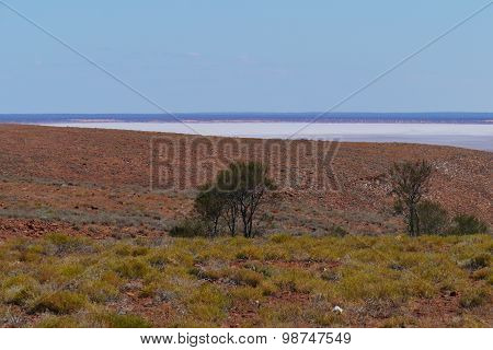 The Australian outback with saline lakes