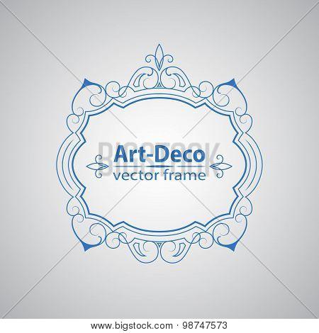 Vector geometric linear style frame - art deco