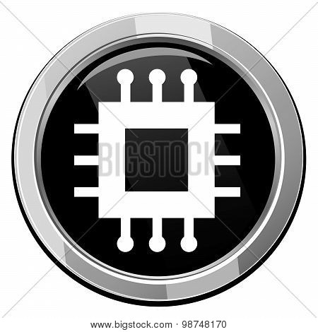Electronic Chip Round Icon.