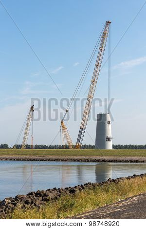 Big Crane Busy With Construction Of A New Dutch Windturbine