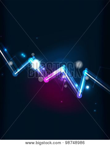 Glowing line, down graph and blending colors in dark space. Vector illustration. Abstract background