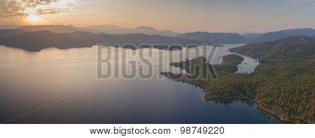 Aerial panorama of English Harbor in Gokova Gulf Bodrum Turkey