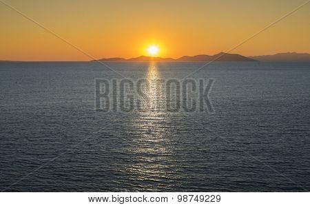 Sunrise over sea and islands.