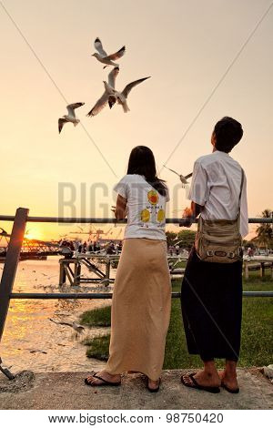 Feeding Seagulls On The Pier, Yangon