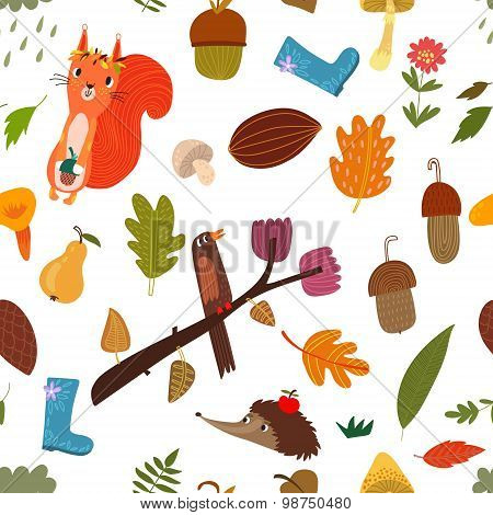 Seamless Pattern With Cartoon Forest Animals And Autumn Elements.
