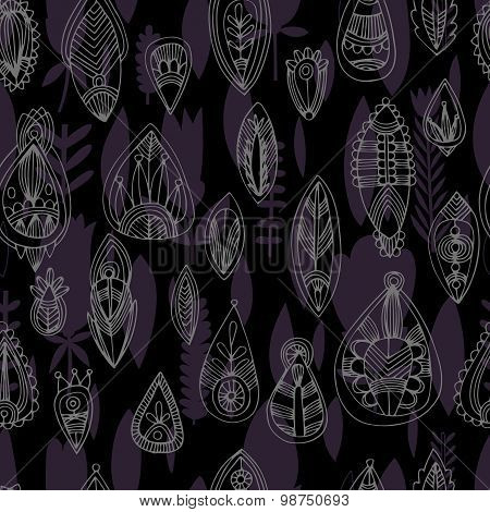 Seamless Floral Retro Background Pattern In Vector. Henna Paisley Mehndi Doodles Design Pattern.  -