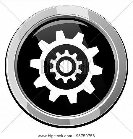 Gear Symbol, Vector Black Round Icon