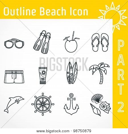 Outline Beach Icon