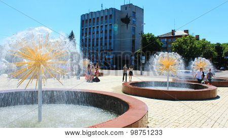 Beautiful Fountains In The Town