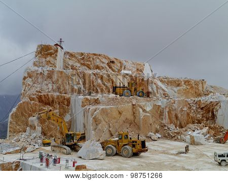 An open marble pit mine in Carrara
