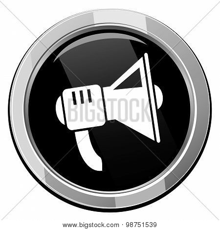 Loudspeaker Black Round Icon, Vector.