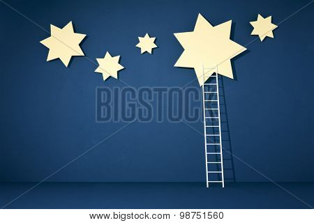 reaching the stars with a white ladder