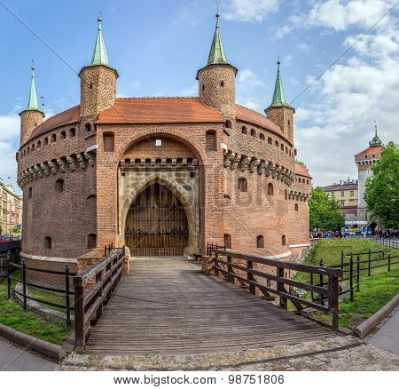 Barbakan Fortress In Cracow, Poland