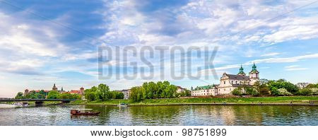 St. Michael Archangel And Wawel Castle In Cracow, Poland