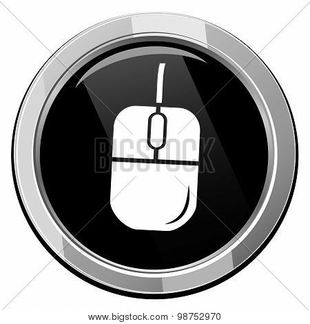 Vector Computer Mouse On Black Round Icon