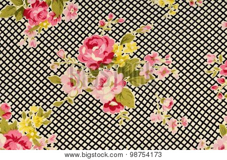 Pink Roses On Black And White Stripe Fabric.