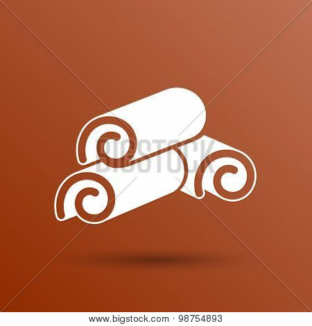 Cinnamon sticks logo closeup heap tree art