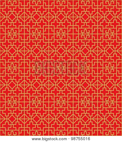 Golden seamless Chinese window tracery cross square pattern background.