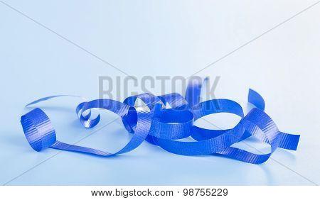 Curled Blue Ribbon