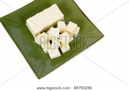 Tofu Cubes With Green Plate