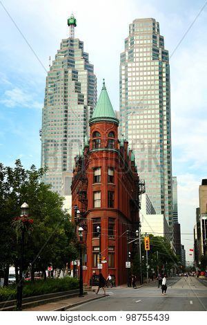 TORONTO CANADA JULY 10, 2015The red-brick Gooderham Building is a historic landmark of Toronto, Ontario, Canada and is the focal point of one of Toronto's most iconic vistas.