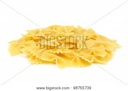 Bow tie pasta isolated on white