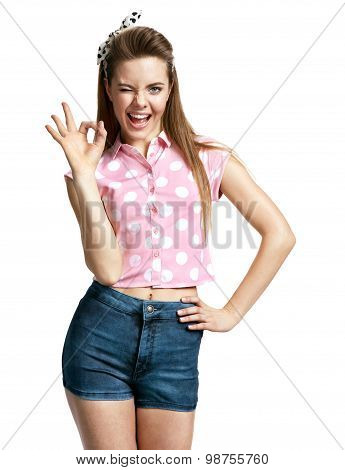 Happy Smiling Young Woman Showing Okay Gesture
