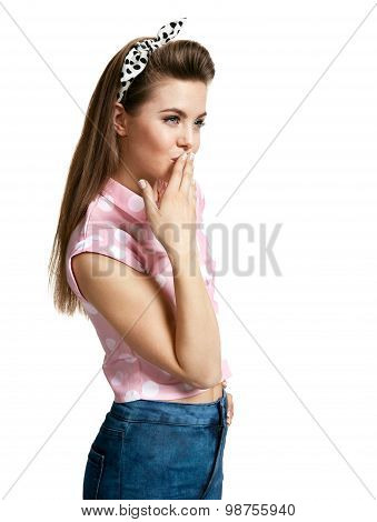Pensive Woman Touching Her Face