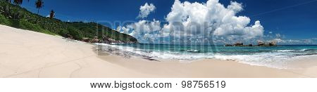 Tropical Sandy Beach With Clouds And Blue Sky At Summer Sunny Day, Panorama