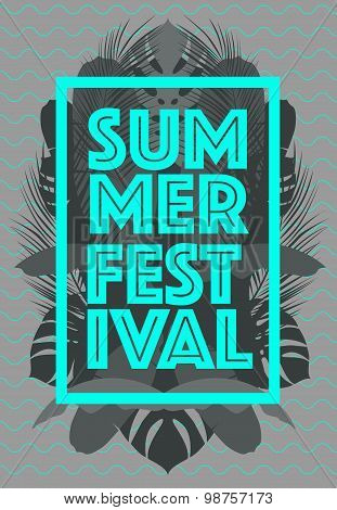Summer Time poster Text leaves background vector