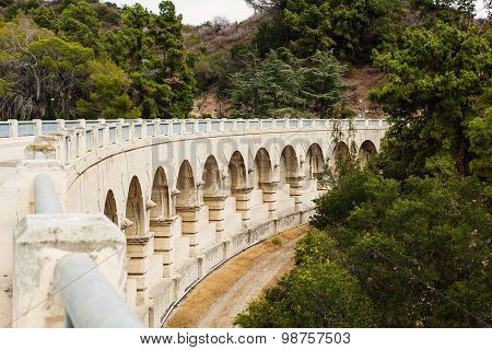 Nice old big dam in beautiful landscape. Hollywood reservoir