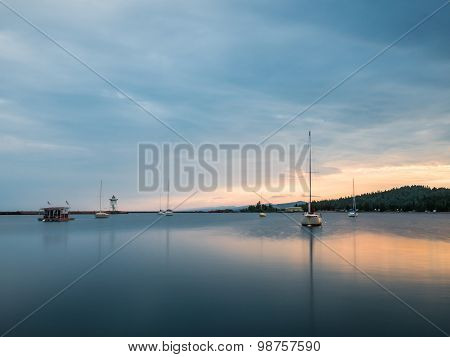 Sailboats On Grand Marais Harbor At Sunset 1