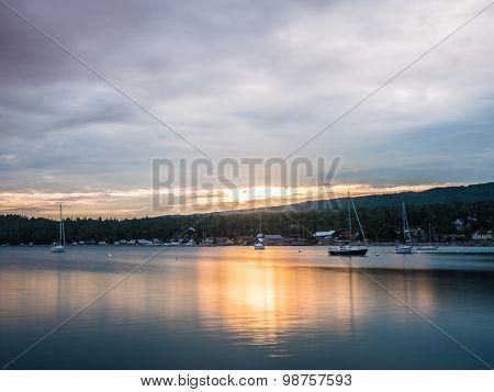 Sailboats On Grand Marais Harbor At Sunset 2