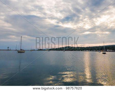 Sailboats On Grand Marais Harbor At Sunset 7