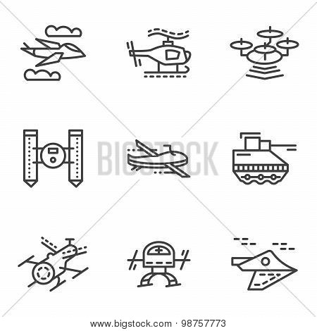 Military drones simple line vector icons
