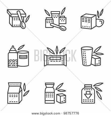 Baby food simple line vector icons