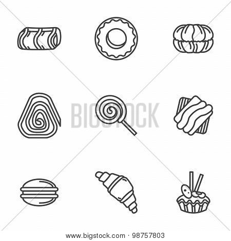 Sweets simple vector icons set