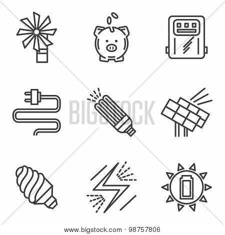 Saving energy simple vector icons set