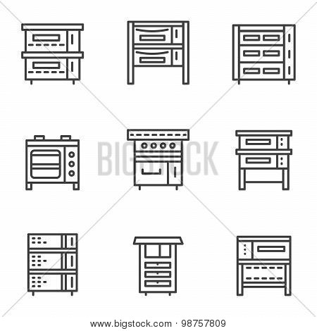 Ovens simple line vector icons set