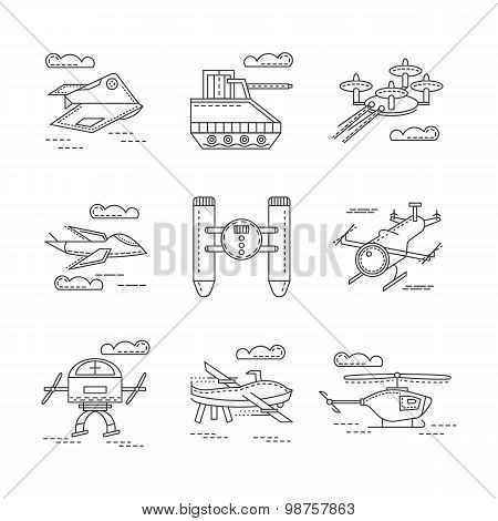 Abstract vector icons for military drones