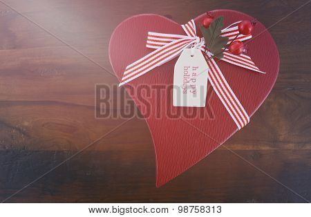Vintage Style Red Heart Shape Christmas Gift