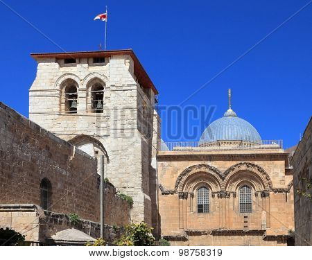 Church of the Holy Sepulchre in Jerusalem. Photo taken from the balcony of the house on the other side of the square