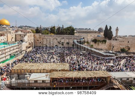 Jerusalem, the Jewish holiday of Sukkot. The area in front of Western Wall of Temple filled with people