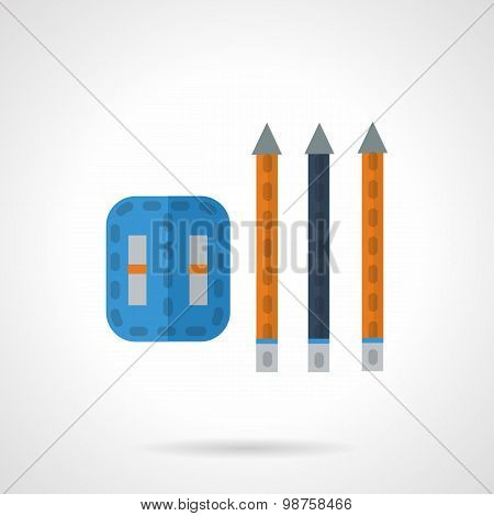 Pencils and sharpener flat vector icon