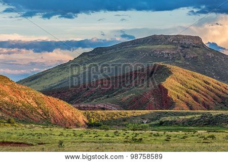 foothills of Rocky Mountains in Colorado - Red Mountain Open Space near Fort Collins with a dam on Sand Creek