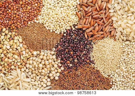 gluten free grains (buckwheat, amaranth, brown rice, millet, sorghum, teff,  red, black and white quinoa) - top view background