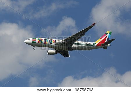 Alitalia Airbus A330 with Milano 2015 Expo livery descending for landing at JFK Airport