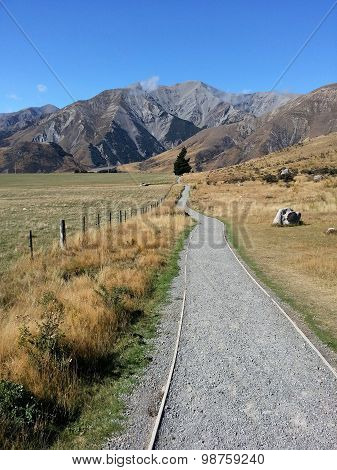 Long Walk Way To The Goal At Castle Hill, New Zealand