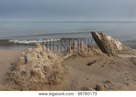 Sand Castle And Driftwood On A Lake Huron Beach