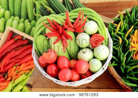 Harvest Of Fresh Greens And Vegetables